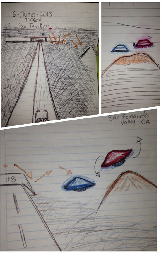 SKETCH OF UFOS PREPARED BY WITNESS.