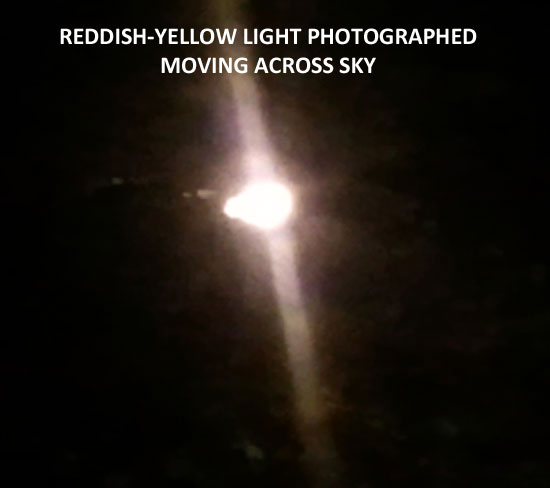 THIS LIGHT WAS PHOTOGRAPHED MOVING ACROSS SKY.