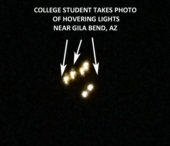 PHOTO OF BRIGHT HOVERING LIGHTS SEEN BY COLLEGE STUDENTS.
