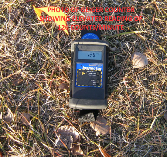 PHOTO OF GEIGER COUNTER SHOWING ELEVATED RADIATION READING OF 126 CPM.