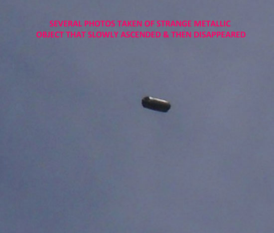 ONE OF SEVERAL PHOTOS OF STRANGE METALLIC OBJECT.