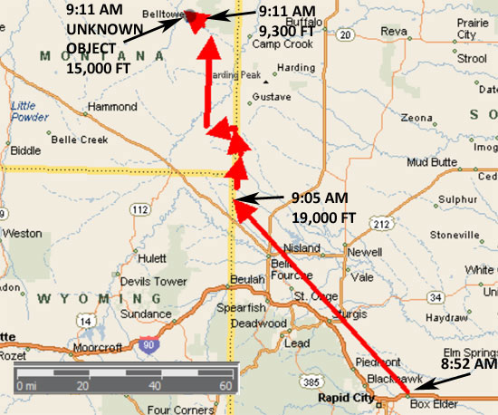 RADAR TRACT OF B1 BOMBER WHICH TOOK OFF FROM ELLSWORTH AFB, SD & CRASHED IN SE MT.