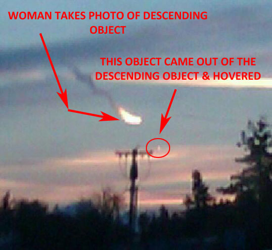 WOMAN TOOK THIS PHOTO OF DESCENDING OBJECT THAT EJECTED AN OBJECT THAT HOVERED.