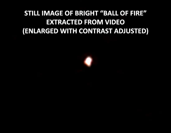 STILL IMAGE OF BALL OF FIRE EXTRACTED FROM VIDEO.