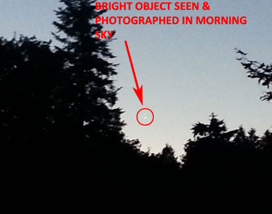 BRIGHT OBJECT SEEN & PHOTOGRAPHED IN MORNING SKY.