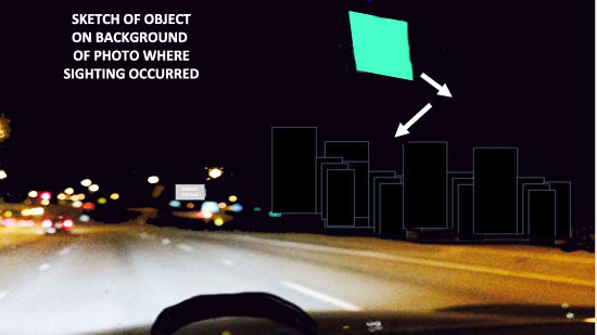 SKETCH OF OBJECT ON BACKGROUND OF PHOTO WHERE SIGHTING OCCURRED.
