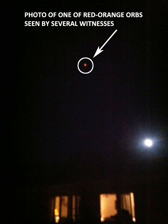 PHOTO OF 1 OF RED-ORANGE ORBS SEEN BY WITNESSES.
