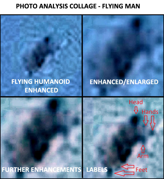 PHOTO ANALYSIS COLLAGE OF FLYING HUMANOID.