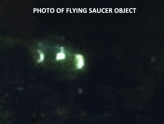PHOTO OF FLYING SAUCER OBJECT SEEN BY WITNESS.