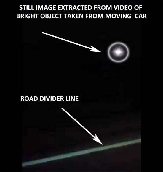 STILL OF BRIGHT OBJECT EXTRACTED FROM VIDEO.