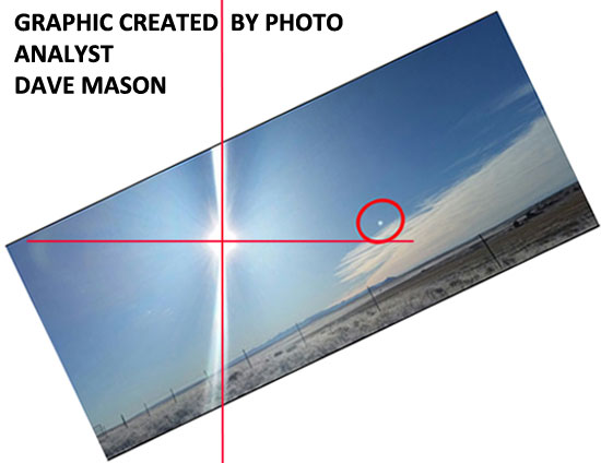 GRAPHIC CREATED BY ANALYST DAVE MASON SHOWING THAT THE OBJECT IS NOT A LENS FLARE.