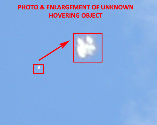 PHOTO & ENLARGEMENT OF UNKNOWN HOVERING OBJECT.