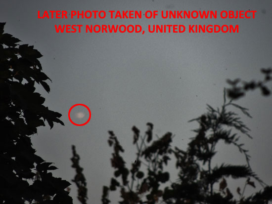 PHOTO TAKEN AT LATER TIME OF UNKNOWN OBJECT.