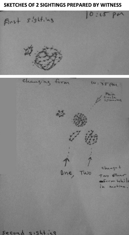 SKETCHES OF 2 SIGHTINGS OF STRANGE SPINNING OBJECT.