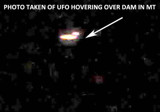 ENLARGED PHOTO OF HOVERING UFO.  CONTRAST HAS BEEN ADJUSTED.