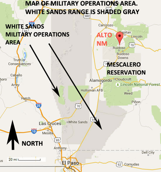 MAP OF MILITARY OPERATIONS AREAS - NEAR ALTO, NM.