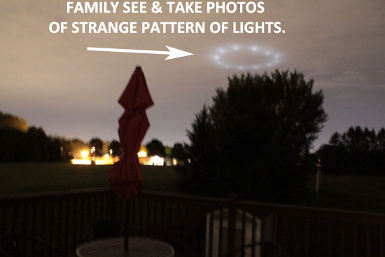 1 of 3 PHOTOS TAKEN OF CIRCULAR BAND OF LIGHTS SEEN BY FAMILY.
