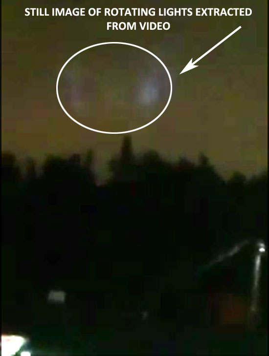 STILL IMAGE OF ROTATING LIGHTS EXTRACTED FROM VIDEO.