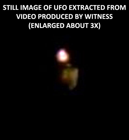 STILL IMAGE OF UFO PRODUCTED BY WITNESS. (ENLARGED ABOUT 3X.)
