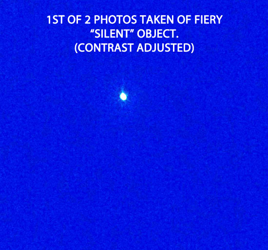 1ST OF 2 PHOTOS TAKEN OF UNKNOWN FIERY OBJECT.