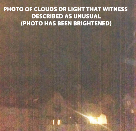 BRIGHTENED PHOTO OF CLOUDS DESCRIBED AS UNUSUAL BY WITNESS.