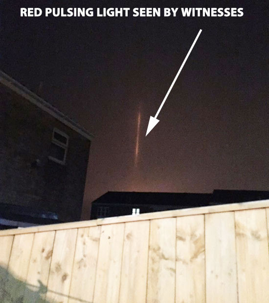 PULSATING RED BEAM OF LIGHT SEEN BY WITNESSES.