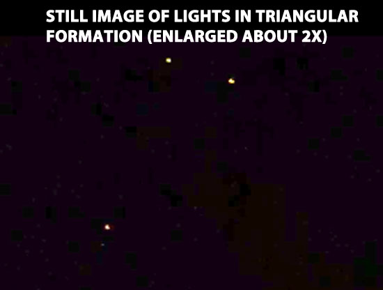 STILL IMAGE OF TRIANGULAR LIGHTS EXTRACTED FROM VIDEO (ENLARGED 2X).