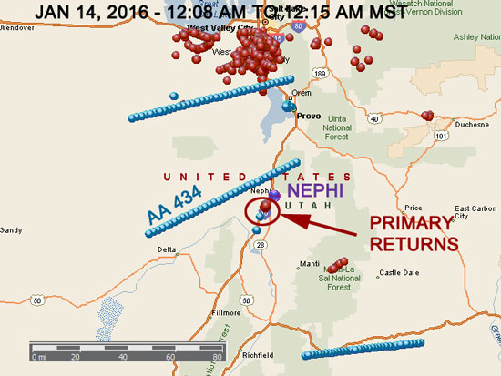 FIG 2 ZOOMED OUT MAP SHOWING ISOLATED AREA OF RADAR RETURNS NEAR NEPHI, UT.