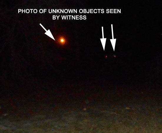 PHOTO OF UNKNOWN OBJECTS SEEN BY WITNESS.
