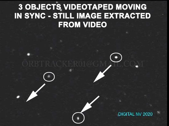 STILL IMAGE OF 3 OBJECTS MOVING IN SYNC EXTRACTED FROM VIDEO.