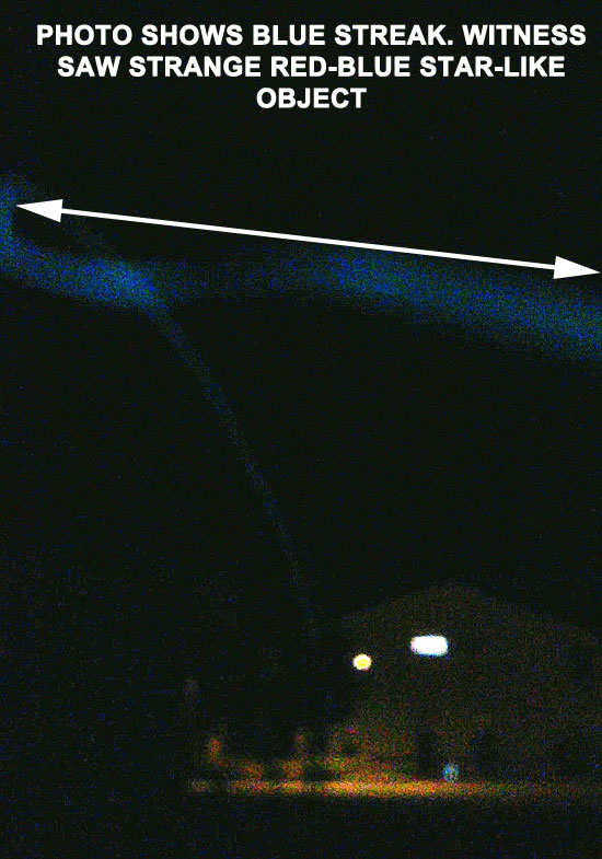 PHOTO REVEALS BLUE STREAK. WITNESS SAW RED-BLUE STAR-LIKE OBJECT.