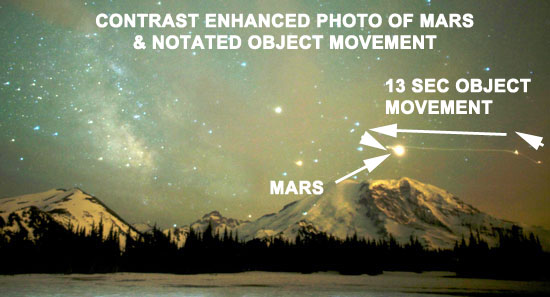 CONTRAST ENHANCED PHOTO SHOWING MOVEMENT OF OBJECT NEAR PLANET MARS.