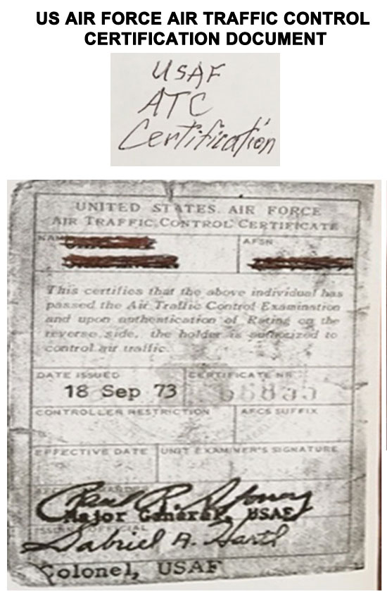 U.S. AIR FORCE AIR TRAFFIC CONTROL CERTIFICATION.