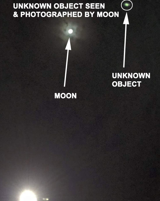 PHOTO OF UNKNOWN OBJECT BY MOON SEEN BY WITNESSES.