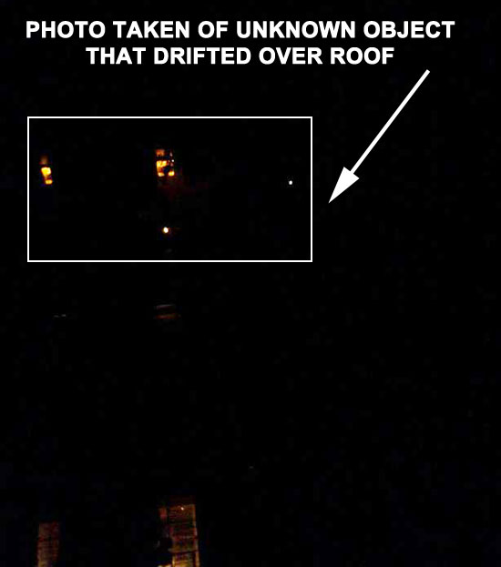 PHOTO OF UNKNOWN OBJECT THAT DRIFTED OVER ROOF.
