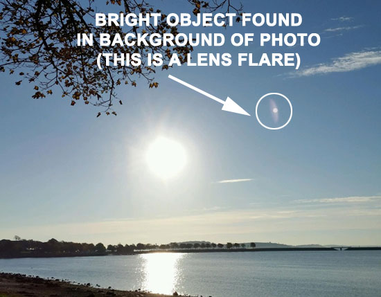 PHOTO OF OBJECT FOUND IN PHOTO BACKGROUND. (LENS FLARE.)