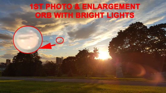 1ST PHOTO & ENLARGEMENT - ORB WITH BRIGHT LIGHTS.