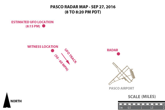 MAP OF RADAR RETURNS SHOWING UFO.