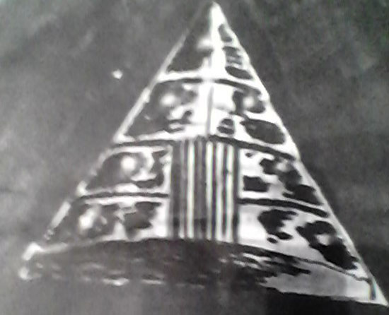 SKETCH OF TRIANGULAR OBJECT PROVIDED BY WITNESS.