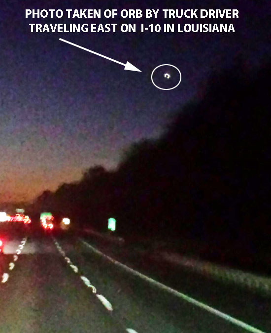 PHOTO OF WHITE ORB TAKEN BY TRUCK DRIVER.