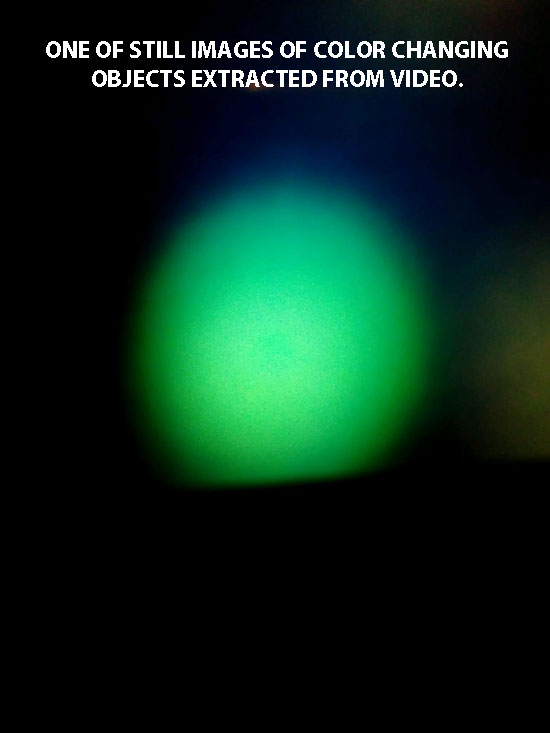 1 OF STILL IMAGES EXTRACTED FROM VIDEO SHOWING GREEN OBJECT.