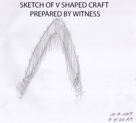 SKETCH OF V SHAPED CRAFT BY WITNESS.