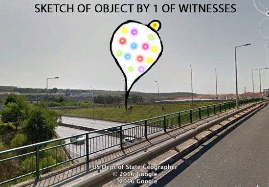 SKETCH OF TEAR DROP SHAPED OBJECT BY 1 OF WITNESSES.
