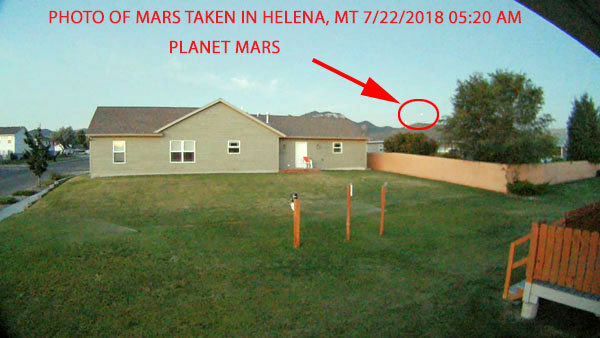 PHOTO OF MARS TAKEN IN HELENA, MT 30 MINS BEFORE SUNRISE 7/22/2018.
