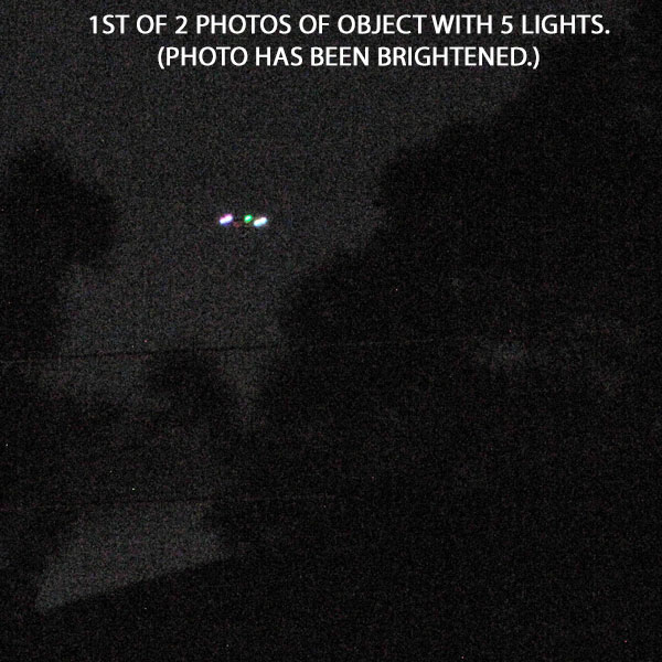 1ST OF 2 PHOTOS OF OBJECT WITH 5 LIGHTS.