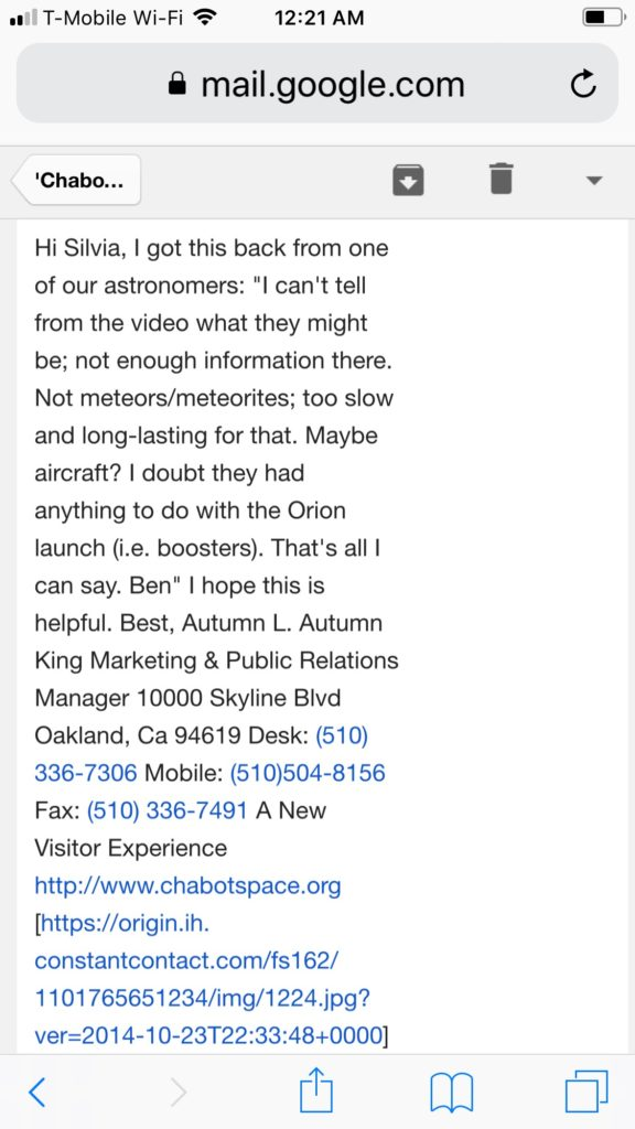 Response that witness received from Chabot Space and Science in Oakland, CA regarding video.