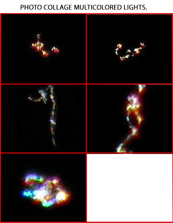 PHOTO COLLAGE OF MULTICOLORED LIGHTS.