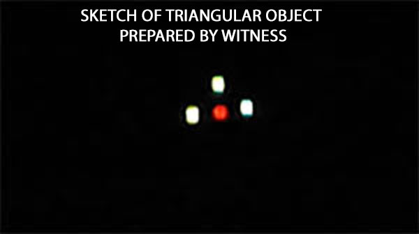 SKETCH OF TRIANGULAR OBJECT PREPARED BY WITNESS.