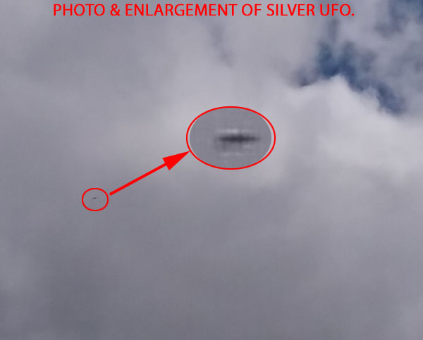 PHOTO AND ENLARGEMENT OF SILVER UFO.