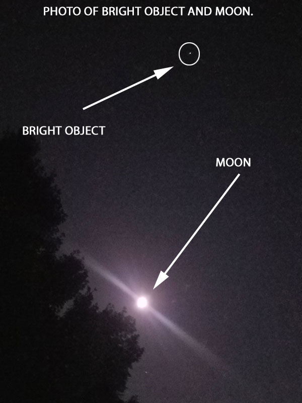 PHOTO OF BRIGHT OBJECT & MOON.